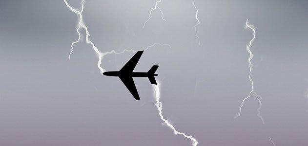 Airplane being struck by lightning