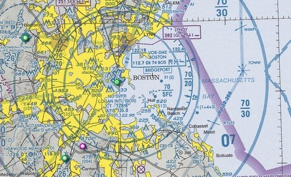 Sectional chart excerpt for Boston